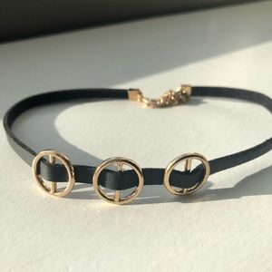 Jewelry - Vegan Suede Embellished Banded Necklace